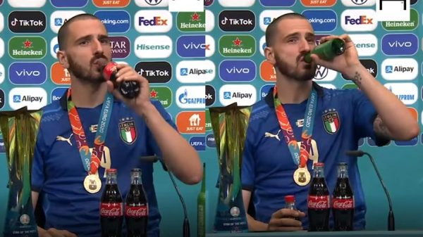 """With a bottle of coke and beer, Bonucci said, """"I'll drink it all."""""""